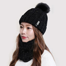 Load image into Gallery viewer, Pompoms Winter Hat Scarf Set Women Girls Warm Knitted Caps Set Winter Headware Women Beauty Hats Scarves