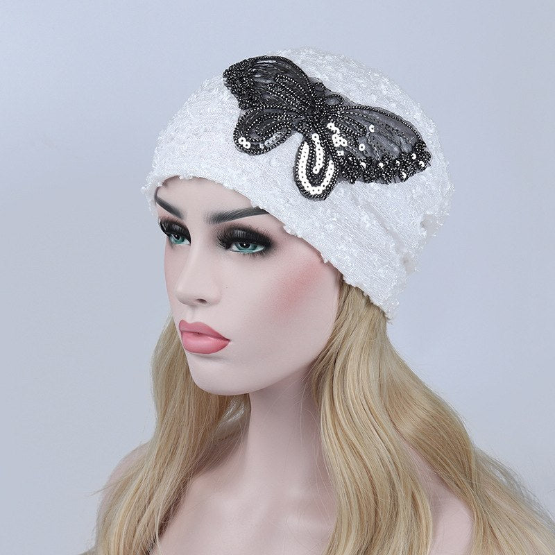 Women Hats with Beautiful Butterfly Pattern Winter Autumn Spring Beanies Ladies Lace Caps Adult Female Hats Women's Caps