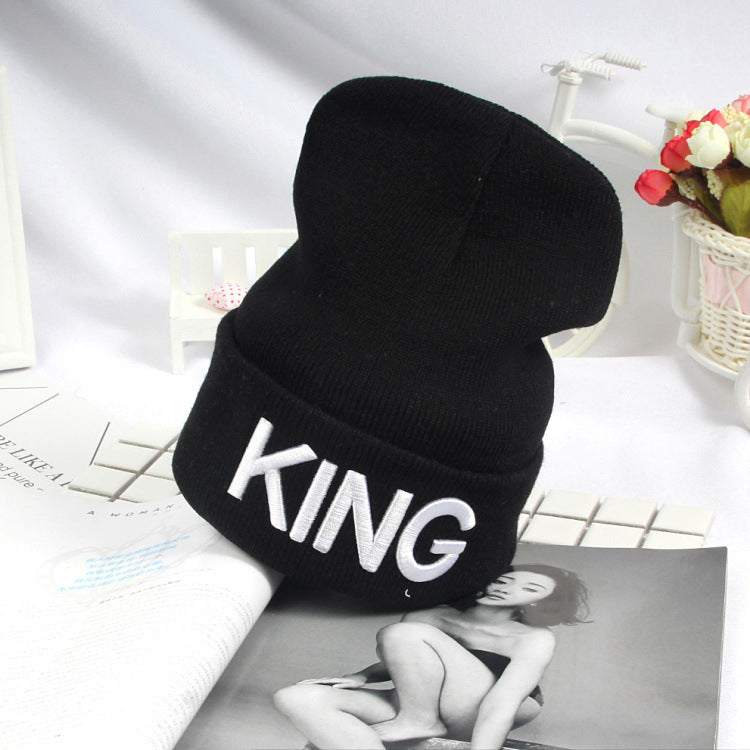 KING QUEEN Winter Warm Skullies Beanies Knit Hat Skullies Bonnet Hats For Men Women Beanie Ski Sports Embroidery Cap 15
