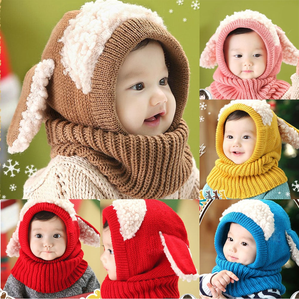 5ca92399270 Kids Baby Winter Rabbit Ear Hats Lovely Infant Toddler Girl Boy Beanie Cap  Warm Baby Hat Hooded Knitted Scarf Set Earflap Caps