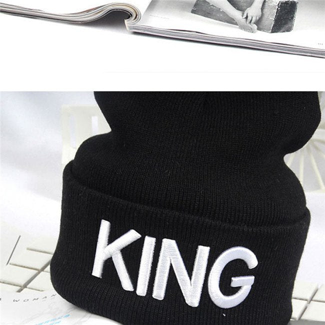 King Queen Beanie Men Women Stocking Hat Beanies Skullies Winter Hats Cap Knitted Hiphop Hat Female Couple Warm Winter Cap BLACK