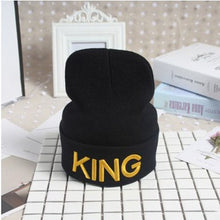 Load image into Gallery viewer, King Queen Beanie Men Women Stocking Hat Beanies Skullies Winter Hats Cap Knitted Hiphop Hat Female Couple Warm Winter Cap BLACK