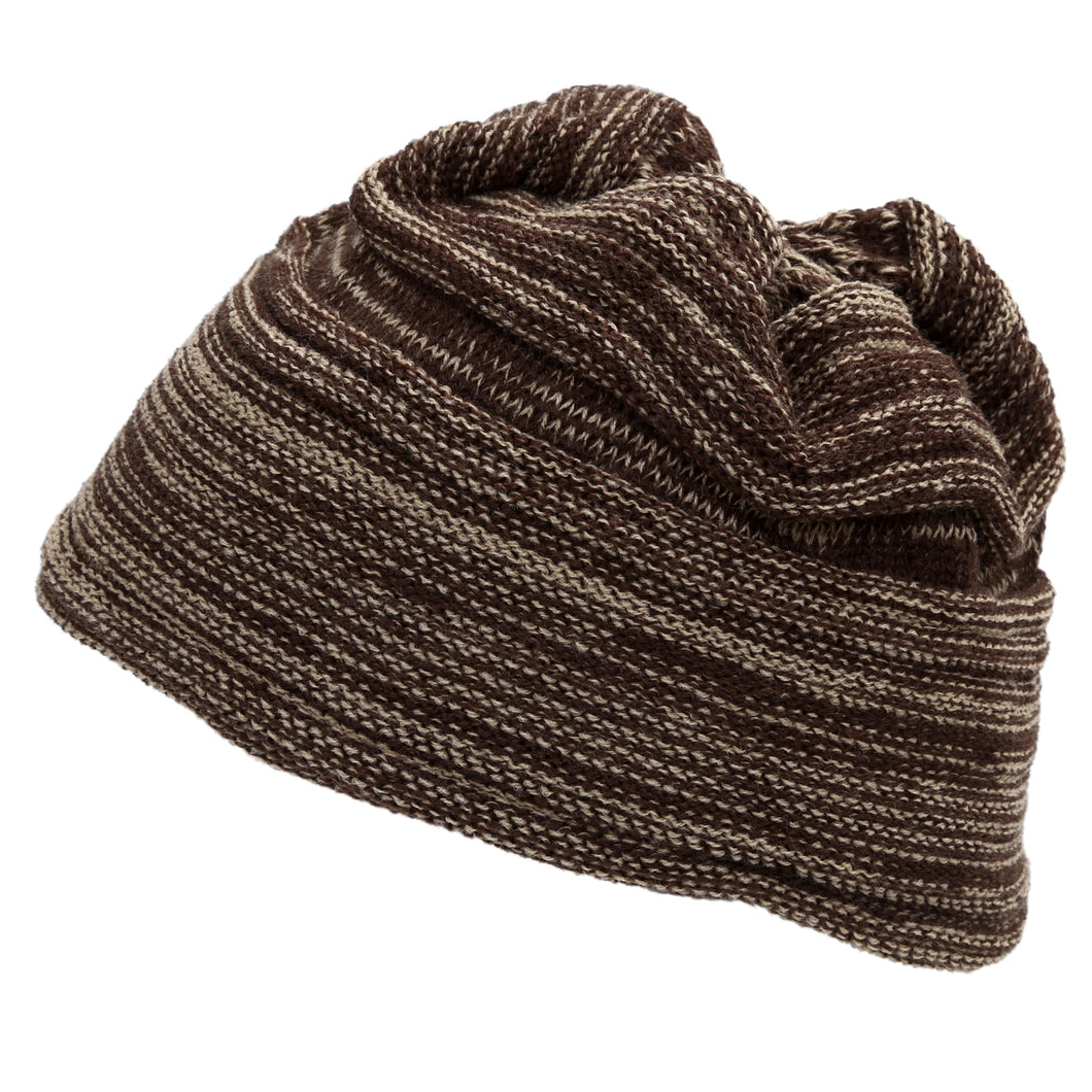 Knit Thick Warmer Ribbing Cuff Beanie Hat Coffee Dark Khaki for Men