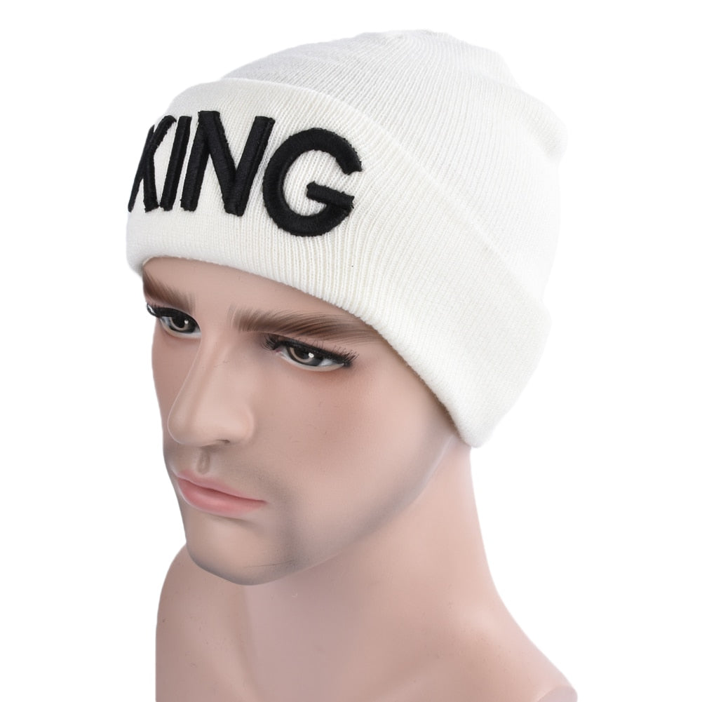 Knitted Hat Cap Men Women Knitted Beanies Hat Letter Embroidery Dome Autu Winter Cap Warm Hat Headwear gorros Black/White