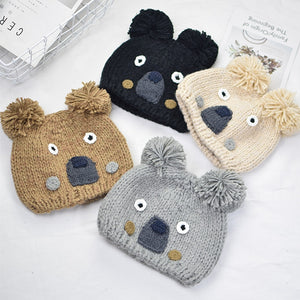 fb12d6d9b45 Knitted Hat Girl Boy Cute Cartoon Koala Winter Hats Warm Thick Caps  Children Beanies Autu Kids Ball Ears Hat Korea Hot Sale