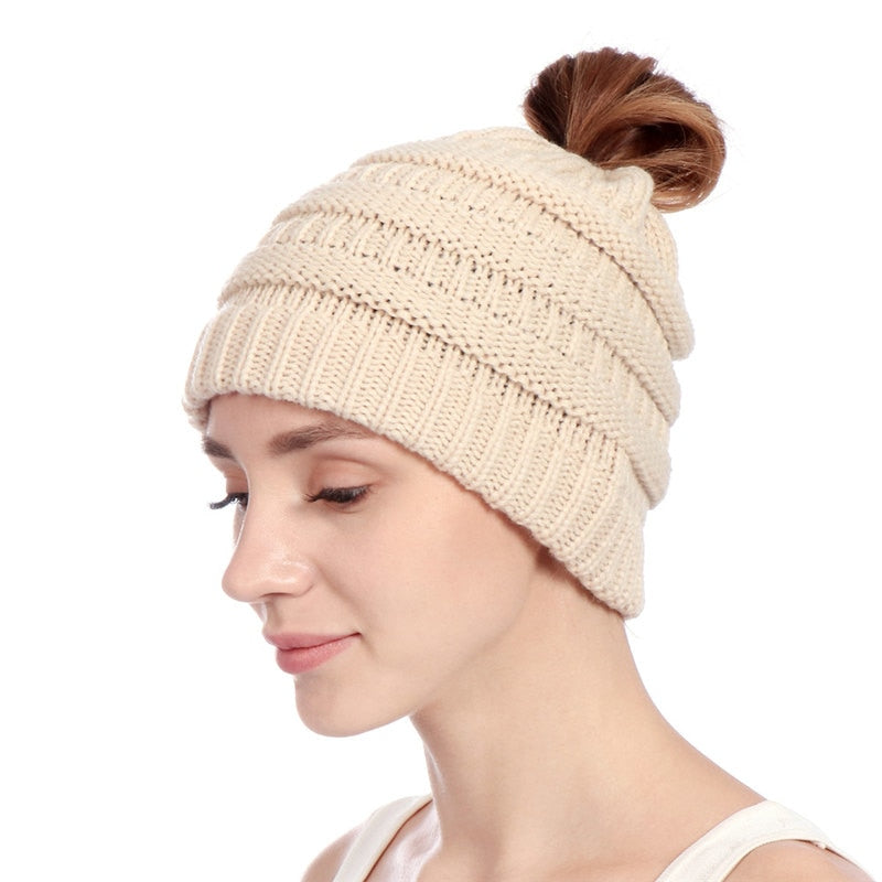 Knitting Beanie Hat For Women Men Warm Solid Color Striped With Hole On Top Fashion Cap Skullies & Beanies Keep Ear Warm