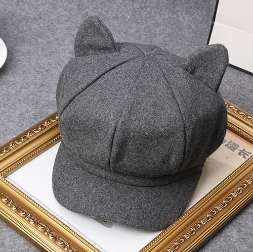 Korea Autu And Winter Acting Cute Lovely Woolen Cat Ears Beret A Woman Painter Hat Newsboy Hats Korean Octagonal Cap Tide