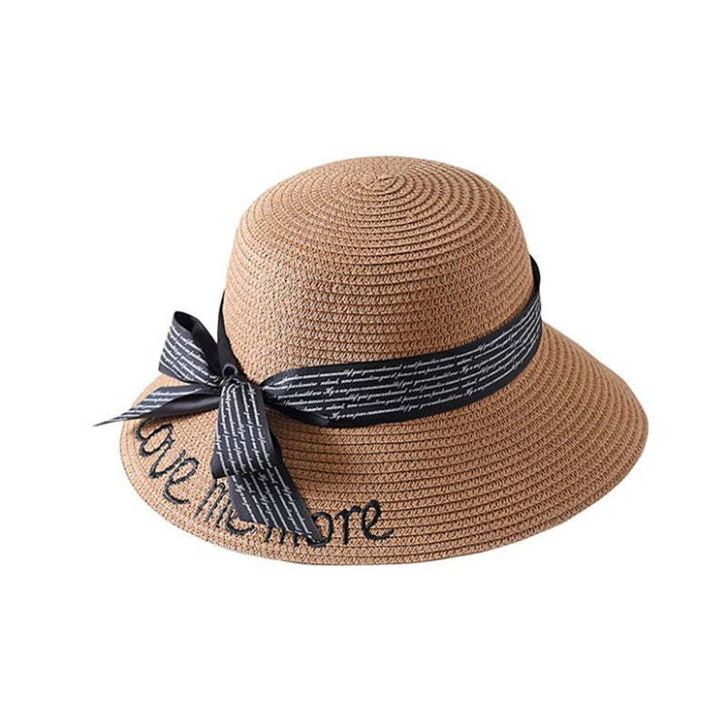 246a81b36b3 Korea Style Embroidery Letter Boater Hat Summer Ribbon Round Bow Flat Top  Wide Brim Straw Hat Women Fedora Panama Hat