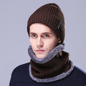 Korea Style Men Two Pieces Kniting Hats With Scarf 2018 New Winter Thick Fur Hats Black Coffee Gray Navy Red and Brown Colors