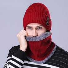 Load image into Gallery viewer, Korea Style Men Two Pieces Kniting Hats With Scarf 2018 New Winter Thick Fur Hats Black Coffee Gray Navy Red and Brown Colors