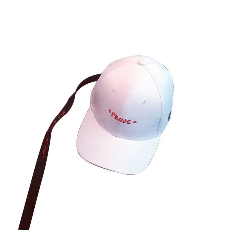 Kpop Hip Hop Letter Embroidery Baseball Cap Men Women Snapback Dad Hats Adjustable Full Trucker Cap with Ribbon Casquette Gorras