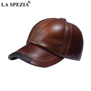 Brown Baseball Caps Men Genuine Leather Casual Peaked Hat Male Adjustable Winter Natural Leather Luxury Baseball Hats