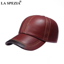 Load image into Gallery viewer, Brown Baseball Caps Men Genuine Leather Casual Peaked Hat Male Adjustable Winter Natural Leather Luxury Baseball Hats