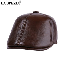 Load image into Gallery viewer, Brown Beret Flat Caps For Men Casual Real Cow Leather Male Duckbill Hats Winter Italian Style Cabbie Ivy Cap And Hat