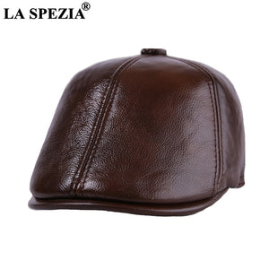 Brown Beret Flat Caps For Men Casual Real Cow Leather Male Duckbill Hats Winter Italian Style Cabbie Ivy Cap And Hat