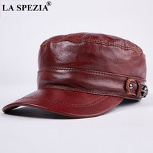 Load image into Gallery viewer, Brown Hat military Style Men Genuine Leather Casual Army Hat Male Winter Adjustable Duckbill Caps Classic Flat Top Cap