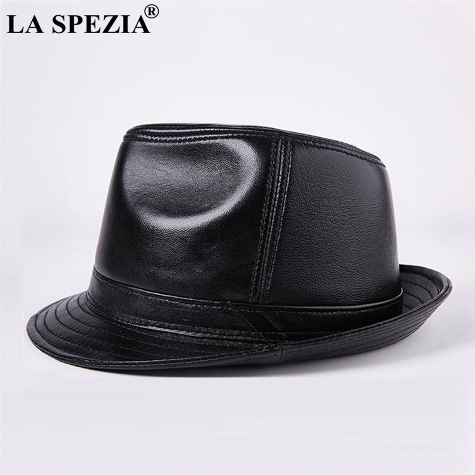 Genuine Leather Fedoras Hat Men Brown Vintage Jazz Caps Classic Male Autumn And Winter Retro Felt Trilby Hat Gentleman