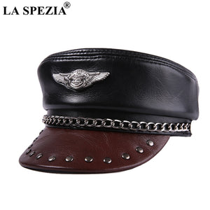 105ed6358fe57 Leather Military Caps Men Black Motorcycle Army Caps With Chain Male  Genuine Leather Captains Hat Autu Flat Cap