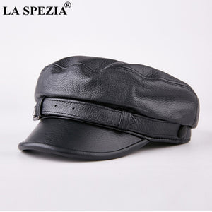 c3344272d1b21 Men Army Hat Leather Military Caps Male Casual Black Captain Hats Retro  Spring Adjustable Luxury Classic Flat Top Caps