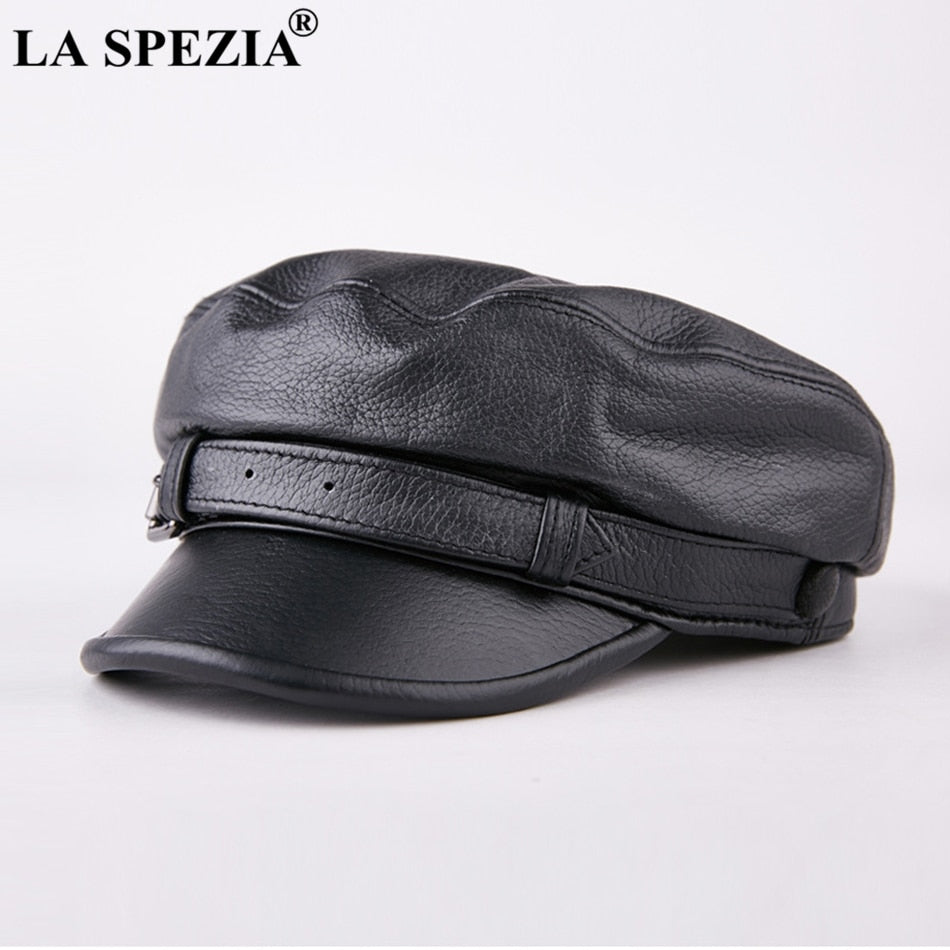 Men Army Hat Leather Military Caps Male Casual Black Captain Hats Retro  Spring Adjustable Luxury Classic Flat Top Caps 97962f6ee