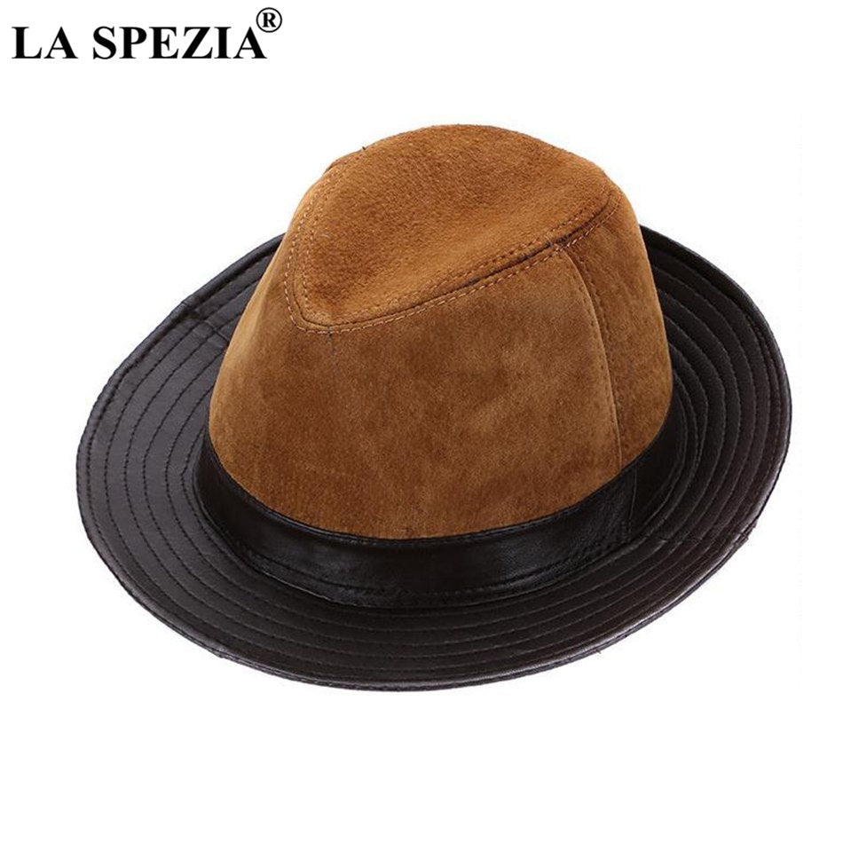 Men Fedoras Hats Brown Real Leather Classic Jazz Caps Gentleman Italian  Design Genuine Leather Spring Felt Trilby Hat f5e8da29b0f