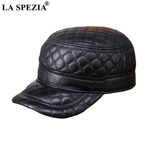 8abec17863e53 Men Military Caps Black Genuine Sheepskin Leather Flat Top Cap Male Real  Leather Plaid Classic Army