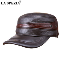 Load image into Gallery viewer, Men Military Hat Brown Genuine Cow Leather Flat Top Cap Male Natural Leather High Quality Winter Army Caps New Fashion