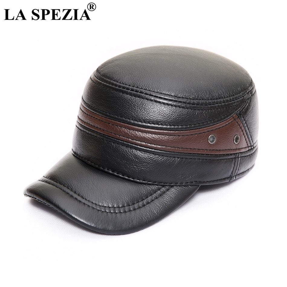 Men Military Hat Brown Genuine Cow Leather Flat Top Cap Male Natural Leather High Quality Winter Army Caps New Fashion