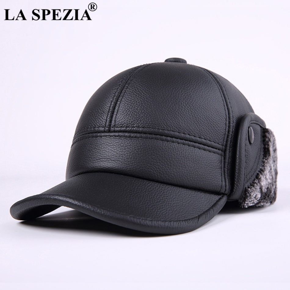 91d8712bae Men S Winter Hats With Ear-Flap Brown Bomber Hat Genuine Leather ...