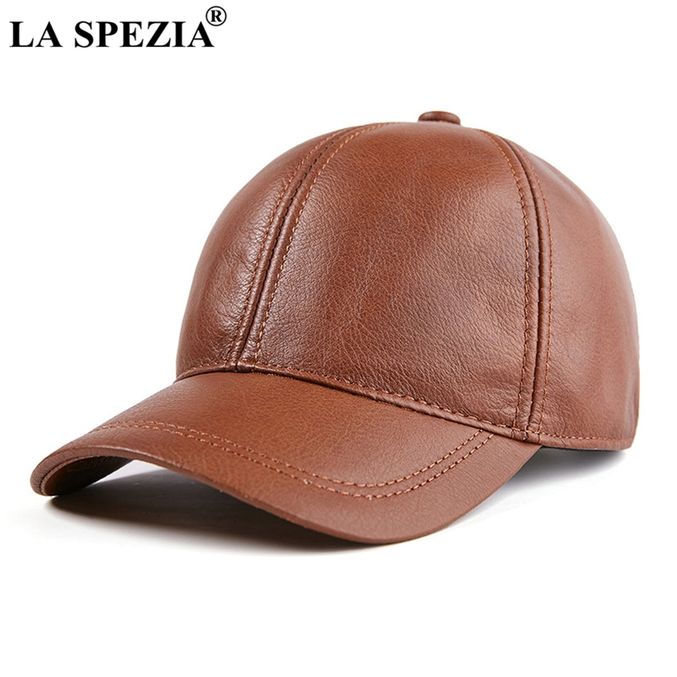 Mens Baseball Cap Genuine Leather Snapback Caps Brown Adjustable Dad Hat  Duckbill Male Autu Baseball Hat Black 2018 20fc7d5b9be