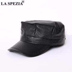 492d98a306d Women Military Hat Brown Genuine Leather Casual Army Cap Men Itilian Brand Natural  Leather Winter Classic