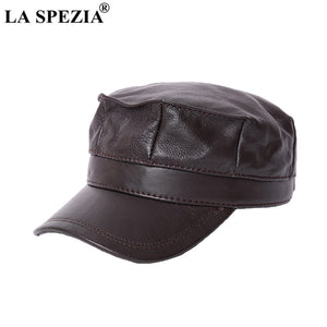 Women Military Hat Brown Genuine Leather Casual Army Cap Men Itilian Brand Natural Leather Winter Classic Flat Top Hat