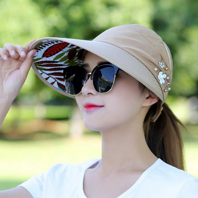 23e20a45f9d 2018 New UV Protection Women Summer Beach Sun Hats Pearl Packable Sun –  oePPeo - Master of Caps   Hats