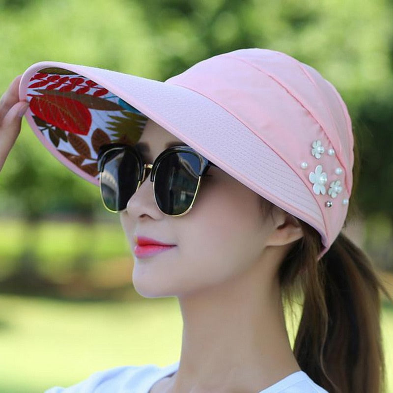 eef51f63 ... Load image into Gallery viewer, 2018 New UV Protection Women Summer  Beach Sun Hats Pearl ...