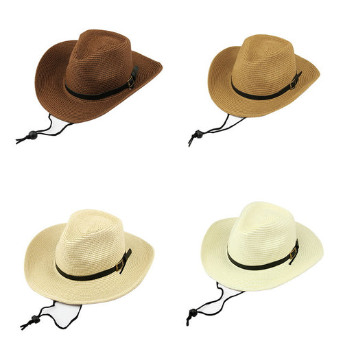 19e6ef18a8e Stylish Cowboy Gangster Cap With Black Belt Unisex Beach Women Men Panama  Jazz Hats Staw Sun