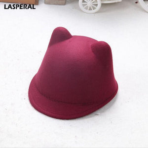 20e0e866 Women Causal Solid Colour 2018 New Brand Winter Warm Round Bowler Cap With Cat  Ears Wo