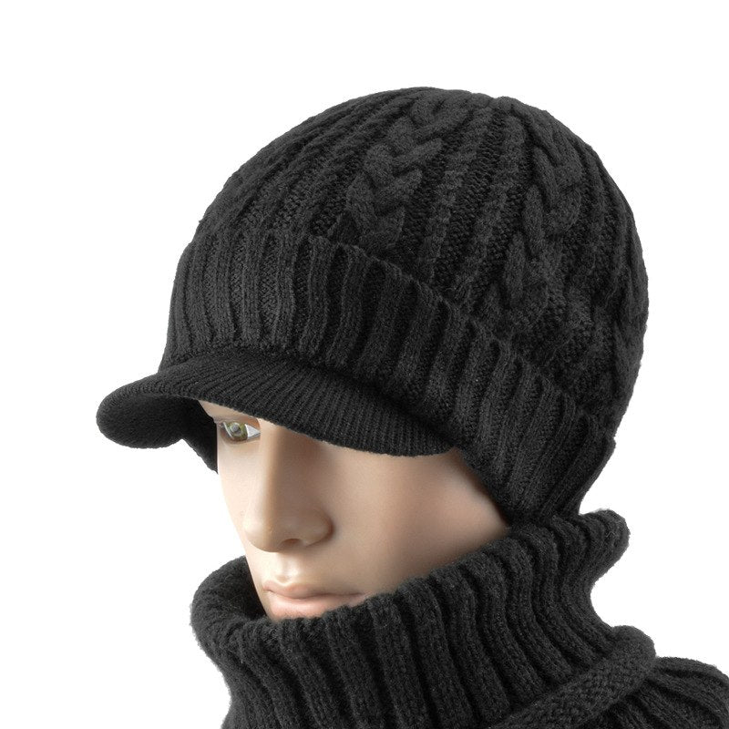 9f71536b9ca Unisex Winter Knitted Cable Cuff with Visor Brim Beanie Hat Newsboy ...