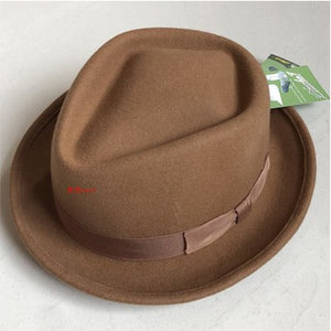 LIHUA Brand Felt Hat ,100% Wo Stain-Resistant Crushable Dress Fedora men's bowler hat  With  Box Pack