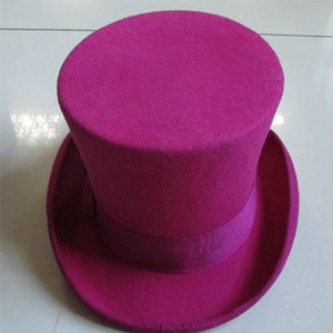 LIHUA Women Party Fashion Wo Tophats Men's Flat top hats 100% wo derby hat felt 18cm/7inch  bowler hat Magic Hat