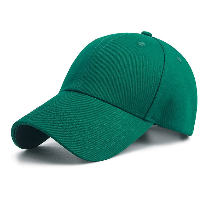 Green Solid Color Curved Brim Men Hat Casual Travel Sport Polyester Cotton Snapback Women Hats Summer Unisex Baseball Caps