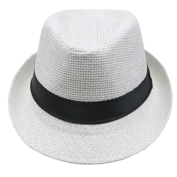 2017 Hot sale Summer Style Child sunhat Beach Trilby Sun hat  Straw panama Hat For  boy girl  Fit For Kids Children 54 cm