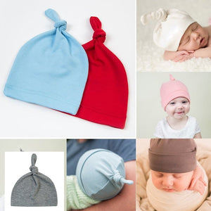1890a44e7e944 2018 new Baby Hats Solid knot Soft 1PC Hot Sale Cot Beanies for children  winter hat cute yellow pink red blue bonnet