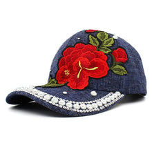 Load image into Gallery viewer, Rhinestones Baseball Cap Women Men Spring Floral Snapback Summer Cap For Girl Fitted Cap Autu Wholesale Hat AD089