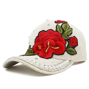 Rhinestones Baseball Cap Women Men Spring Floral Snapback Summer Cap For Girl Fitted Cap Autu Wholesale Hat AD089