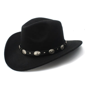 d6b28ee8cf30e 100% Wo Felt Womem Men Western Cowboy Hat With Wide Brim Punk Leather Belt Band  Fedora Cap ( Size 57cm US 7 1 8)