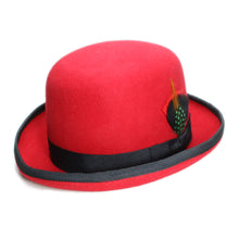 Load image into Gallery viewer, 100% Wo Unisex Classical Round Top Cap Spring Autumn Genuine Feather Bow knot Decoration Derby Fedora Bowler Hat