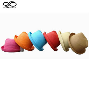Fashion Girls Kids Summer Autu Beach Casual Hats Trendy Straw  Cat Ear Caps Bowler Derby Fedoras (One Size:52cm)