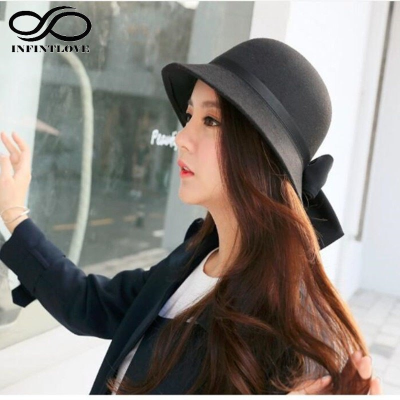 Fashion Women Wo Felt Dome Round Top Fedora Bowler Hat Lady Vintage Elegant Bowknot Cloche Warm Winter Caps