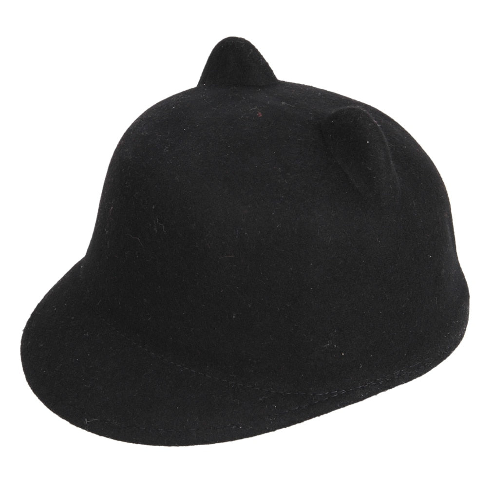 High Quality 100% Wo Felt Kid Children Demon Devil Hat Cat Ears Derby Bowler Cap (One Size:54cm)