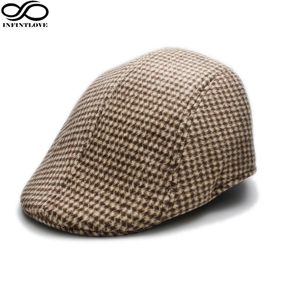 Retro Vintage Winter Flat Cap Driving Sun Cabbie Houndstooth Pattern Newsboy Baker Hat For Men (One Size:58cm)